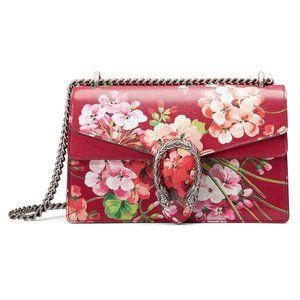 Gucci Dionysus Blooms Leather Shoulder Bag in Red